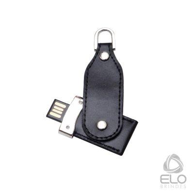 Elo Brindes - Pen drive em courino com detalhe em metal.