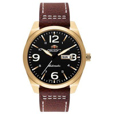 8b2e616e714 Orient Relogios - Relógio de pulso com caixa de aço e pulseira de couro  marrom.