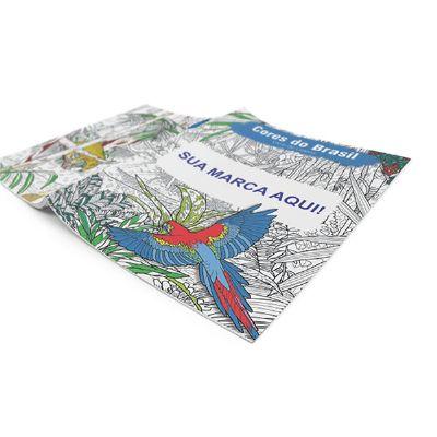 Polymark Produtos Promocionais - Livro de colorir com 16 páginas, acompanha com caixa com 6 mini lápis de cor Faber Castell