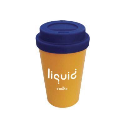 Promoline Brindes Personalizados - Copo Café corpo em PP ( Polipropileno ) de cor sólida disponível em cores com tampa em polímero emborrachada/ siliconada  com 2 orifícios em polímero...