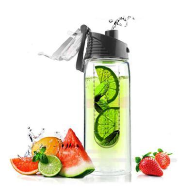 Promoline Brindes Personalizados - Squeeze Garrafa D'água Infusora Capacidade 740 ml. corpo em Pet cristal boca larga com tampa de rosca e válvula escamoteável de acesso ao líquido e su...