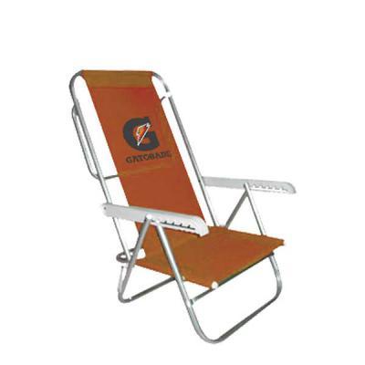 Promoline Brindes Personalizados - Cadeira praia alta reclinável / dobrável com 7 posições (CRS), encosto alto e acento em U integrados reclina totalmente a 180º, estrutura em tubos de...