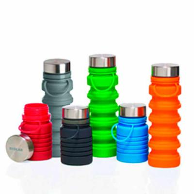 Promoline Brindes Personalizados - Squeeze Garrafa Silicone Dobrável ( corpo sanfonado ) disponível em 6 cores, você pode regular a quantidade de líquido em função das dobras e alça int...