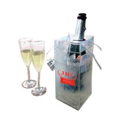 Promoline Brindes Personalizados - Sacola ice bag / cooler para gelo e garrafa de bebida, pode ser usado para transporte com garrafa ou usado sobre a mesa também com gelo, produzida em...