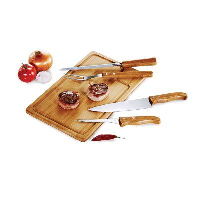 Promoline Brindes Personalizados - Kit churrasco TE com 4 peças e tábua.