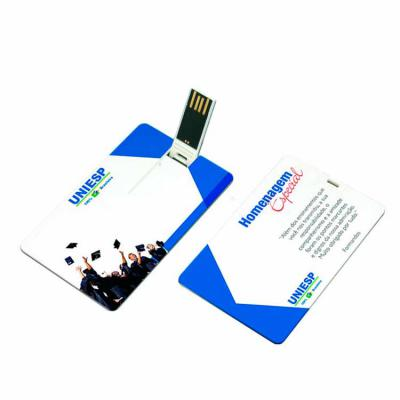 Promoline Brindes Personalizados - Pen Drive Cartão com capacidade 4 GB de memória, corpo plástico disponível nas cores azul, verde, preto, branco e vermelho, chip articulável com encai...