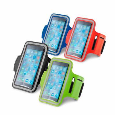 Queen's Brindes - Braçadeira para celular. Soft shell de alta densidade. Com elementos refletivos e fecho ajustável. Para smartphone 5''. 430 x 150 mm