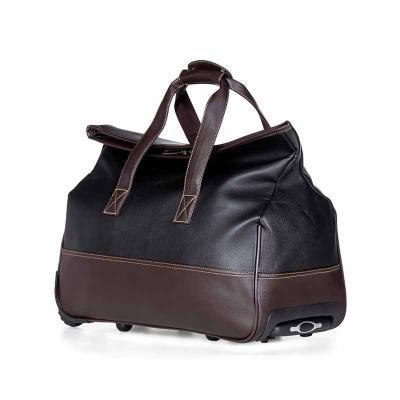 Queen's Brindes - Bolsa de viagem com rodinhas. Confeccionado em poliuretano de alta qualidade, possui alças para mãos com suporte de botão para uni-las, fivela superio...