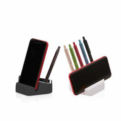 Queen's Brindes - Suporte para telefone Celular, Porta lápis, Porta Clipes. Composição: ABS plastic +TPR