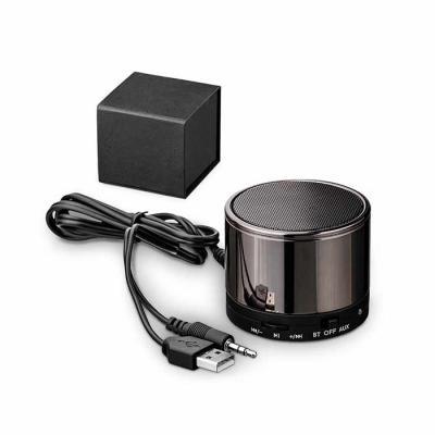 Queen's Brindes - Caixa de som com microfone. Com transmissão por bluetooth, ligação stereo 3,5 mm e leitor de cartões TF. Autonomia até 8h. Capacidade: 500mAh. Função...