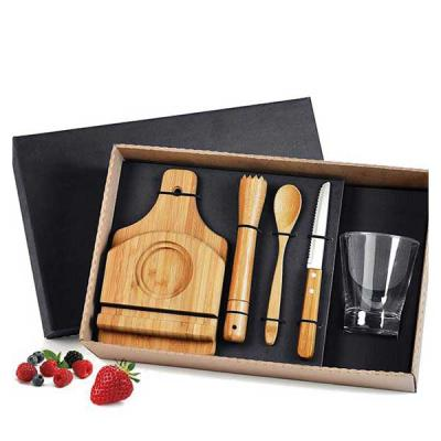 Queen's Brindes - Kit Para Caipirinha Em Bambu - 0,35 L - 6 Pçs