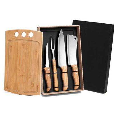 Queen's Brindes - Kit Para Churrasco / Cozinha Em Bambu / Inox - 5 Pçs ME-21543