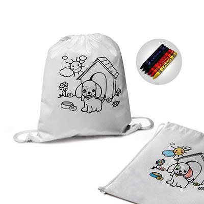 Queen's Brindes - Sacola tipo mochila para colorir