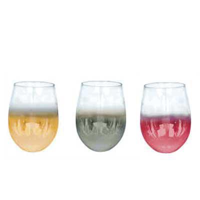Queen's Brindes - Copo Vidro Cristal P/ Vinho - Semi Cromado - 540ml - Elegance