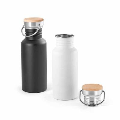 Queen's Brindes - Squeeze. Aço inox. Tampa em bambu. Capacidade: 540 ml. Food grade. Fornecido em caixa. Ø68 x 192 mm