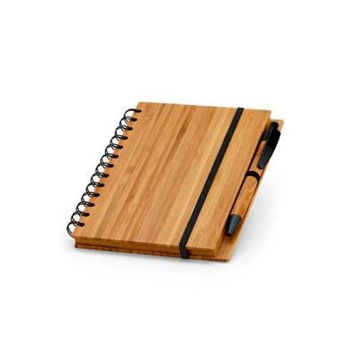 Servgela - Bloco Ecólogico de Bambu Personalizado | Bloco de anotações personalizado com caneta e capa de Bambu. | ST BL12671BL