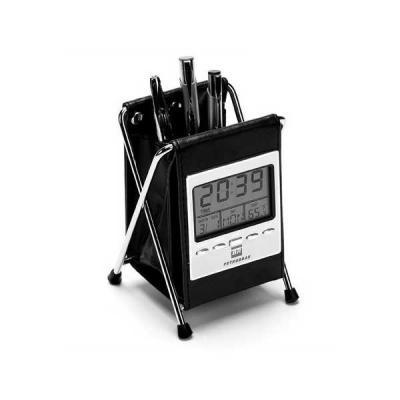 Servgela - Porta Canetas com Relógio de Mesa Personalizado