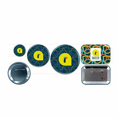 Raizler - Button alfinete, 3,17cm; 5,7cm; 7,6cm; 7,6x5cm. Button ímã 5,7cm; 7,6x5cm. Button espelho 5,7cm; 7,6cm.