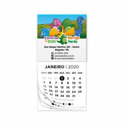 Raizler - Bloco calendário padrão tamanho 5x5cm, com 12 vias, cor 1x0 ou personalizado, ímã tamanho 5x4cm, cores 4x0.