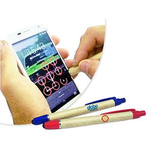 SP Ecologia - Caneta Touch, caneta ecológica 2 em 1, sendo caneta esferográfica e touch screen com ponta macia e corpo em papel reciclado