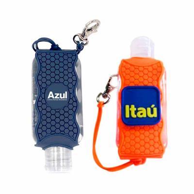 T7 Promocional - Álcool gel com suporte emborrachado 60ml com mini mosquetão.