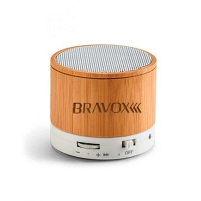 t7-promocional - Caixa de som com microfone feita de bambu. Com transmissão por bluetooth, ligação stereo 3,5 mm e leitor de cartões tf. Autonomia até 3h. Capacidade:...