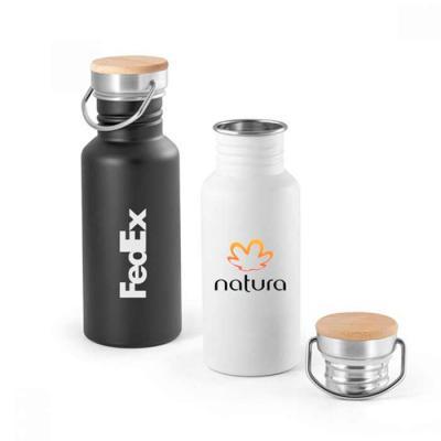 T7 Promocional - Squeeze de aço inox com tampa em bambu com a capacidade: 540 ml. Food grade. Fornecido em caixa
