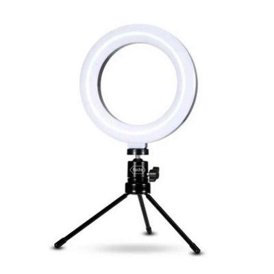 t7-promocional - Iluminador ring light 6 polegadas led com tripé