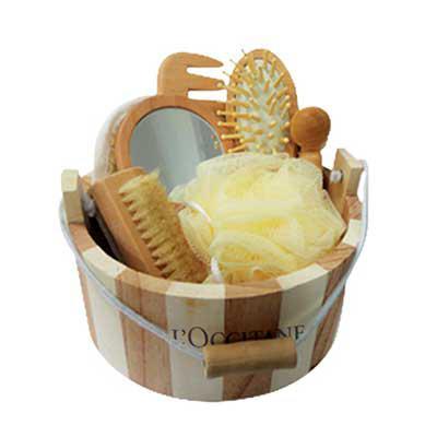 t7-promocional - Kit banho com 7 peças de madeira Escova De Cabelo + Espelho + Bucha De Toque Suave + Bucha De Sisal + Massageador + Escova Para Unhas Com Pedra Pome +...