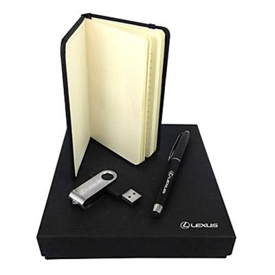 T7 Promocional - Kit escritório composto por Bloco estilo moleskine, caneta esferográfica com ponta para tablet e smartphone e pen drive.