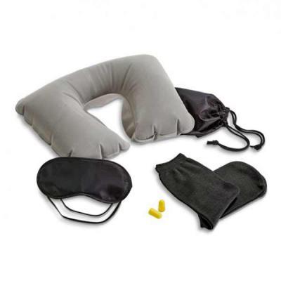 GH Brindes - Kit de viagem. Incluso almofada de pescoço, máscara para dormir, tampões para ouvidos (não é um equipamento de proteção individual) e 1 par de meias....