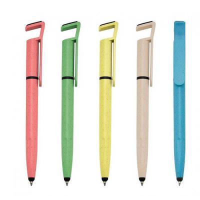 GH Brindes - Caneta plástica touch com suporte para celular, caneta inteira colorida com detalhes preto. Clip plástico aberto utilizado como suporte para o celular...