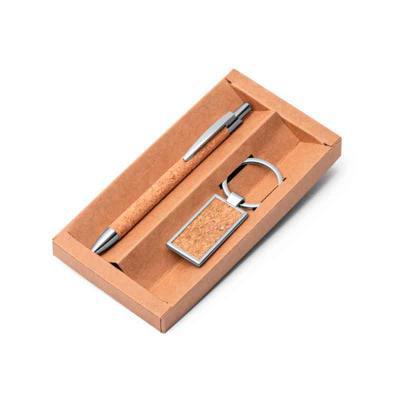 GH Brindes - conjunto de chaveiro e Caneta Corpo em Cortiça Personalizada,