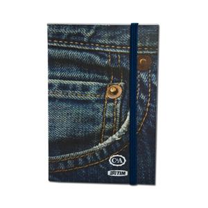 dz9-grafica - Bloco de bolso personalizado - Capa Flexível com cantos retos - 9 x 13 cm - com 50 ou 100 folhas - costurado - elástico.