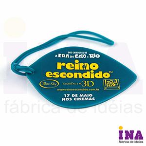 Ina Brindes - Tag de bagagem emborrachado, gravação em alto relevo até 4 cores e verso personalizável. Consulte tamanhos e formatos especiais