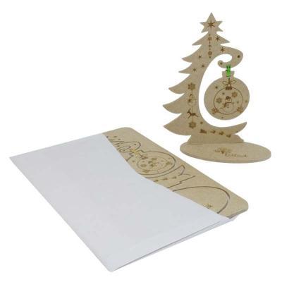 Ecologik Sustentáveis - Cartão postal de natal 3D. Destaque e monte uma bela árvore de natal. Pode ser postado em envelope. Produzido em madeira 100% proveniente de reflorest...