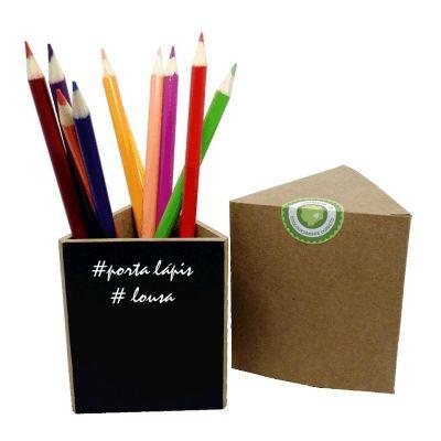 Ecologik Sustentáveis - Porta Lápis triangular com acabamento Lousa. Acompanha giz