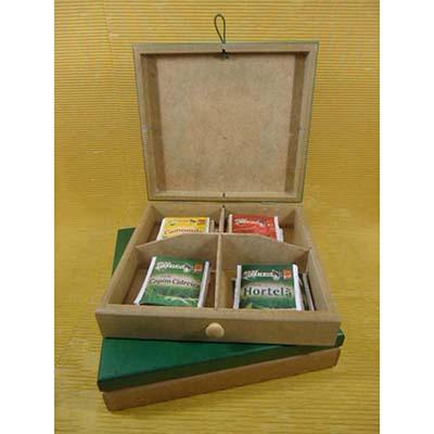 Kit chá com 01 estojo de madeira