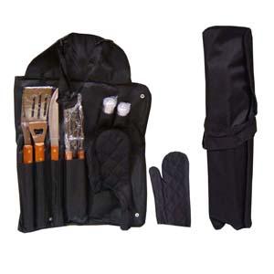 Armazém Brasileiro - Kit para churrasco personalizado, composto por maleta que vira avental, 01 garfo, 01 faca, 01 pegador de carne, 01 espátula. Todas as peças em inox, c...