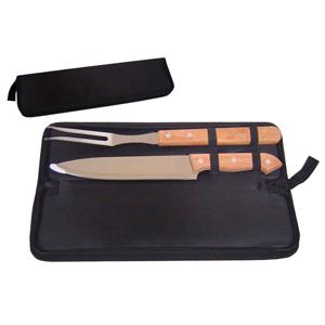 Armazém Brasileiro - Kit para churrasco personalizado composto por  01 faca e 01 garfo trinchante em inox e cabo de madeira em estojo com zíper.Fácil de transportar este k...