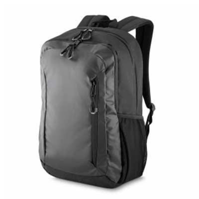 Potencial Brindes - Mochila em tecido nylon, dois bolsos laterais em malha, dois bolsos frontais com zíper protegido, alça de ombro e costas acolchoada e compartimento ac...