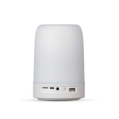 Potencial Brindes - Caixa de som multimídia com luzes, suporte para celular e porta caneta. Medidas aproximadas para gravação (CxL):  9 cm x 8 cm/ Tamanho total aproximad...