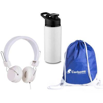 Potencial Brindes - Kit Fitness com headfone estéreo com microfone e garrafa de alumínio