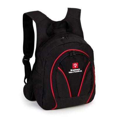Potencial Brindes - Mochila com bolso principal e frontal, personalizada com gravação.