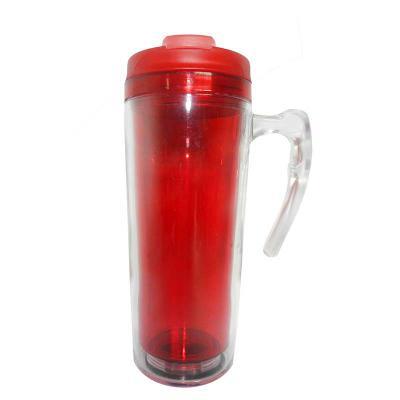 Mugmania - Mug com alça Transparente interno Vermelho