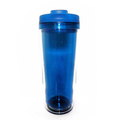 Mugmania - Copo Termico com parede dupla 100%PS CRYSTAL 400ml com tampa solida de rosca azul