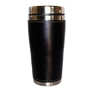Mugmania - Mug térmico com capacidade para 450 ml, revestimento externo em couro, interno em aço inox, tampa em plástico preto revestida em aço inox, base em aço...