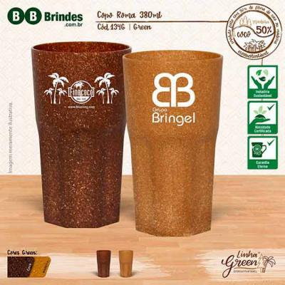 BB Grupo - Copo Roma Green 380ml sustentável feito com 50% de fibra de madeira ou de coco e 50% de PP