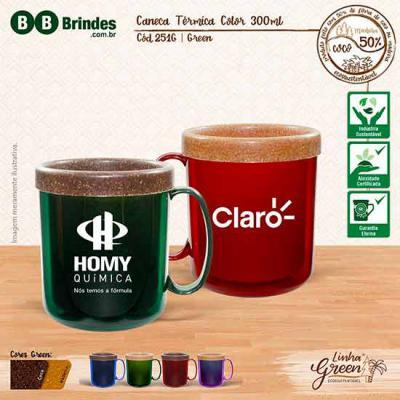 BB Grupo - Caneca plástica, atóxica, formada com corpo cristal colorido e refil feito com 50% de Fibra Natural de Coco ou Madeira