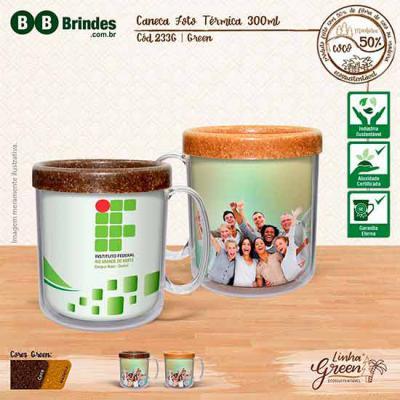 BB Grupo - Caneca Foto Térmica Green 300ml CL. Dupla parede que conserva a temperatura, parede interna Eco Sustentável formado por 50% de Fibra Natural. Acompanh...